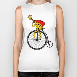 Giraffe Santa Chritmas Biker Tank