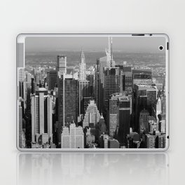 New York city skyscrapers - helicopter view [B&W] Laptop & iPad Skin