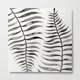 Black Palm Leaf Metal Print