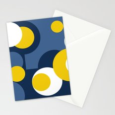 Multi-colored yellow white and blue polka dots . Stationery Cards