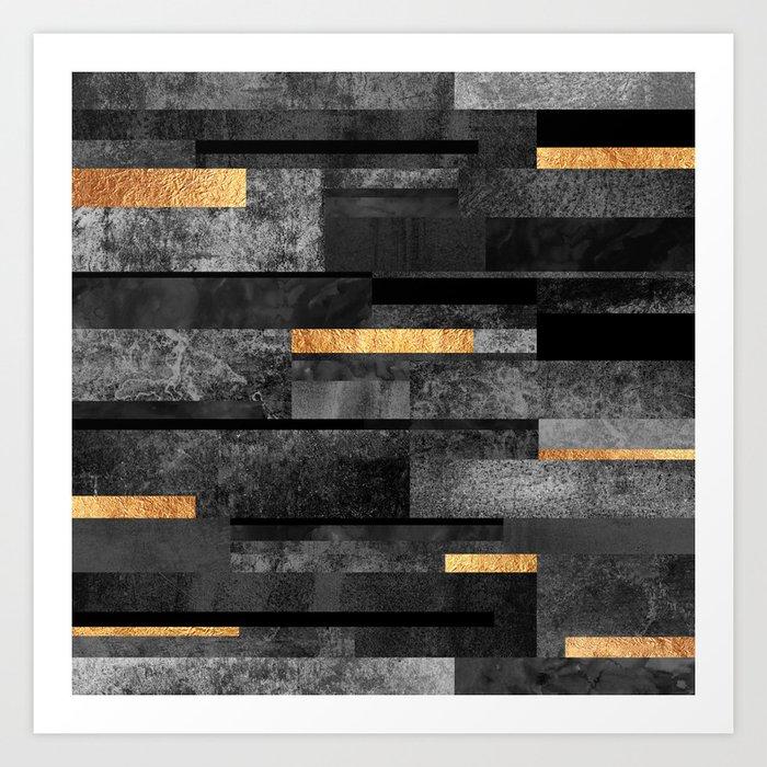 Urban Black & Gold Art Print