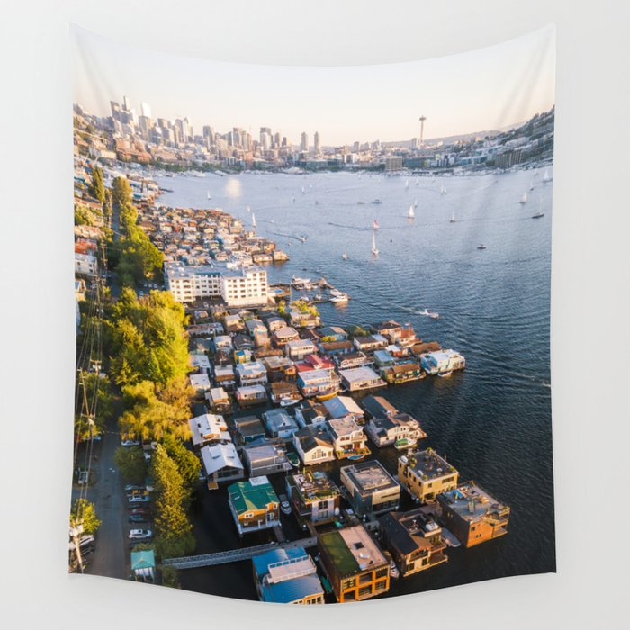 Houseboats on Lake Union Wall Tapestry