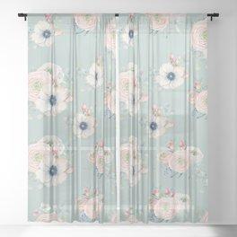 Dog Rose Pattern Mint Sheer Curtain