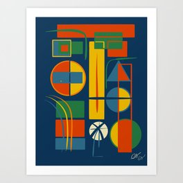 French Abstract Geometric Abstract with Circles, Rectangles and Triangles Art Print