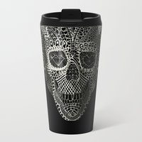 3d Travel Mugs featuring Lace Skull by Ali GULEC