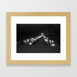 A snowy highway, the 401 at night Framed Art Print