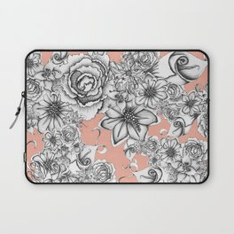 B&W Flowers Coral Laptop Sleeve