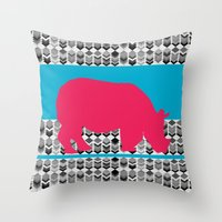 rhino Throw Pillows featuring rhino  by mark ashkenazi