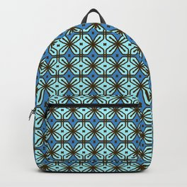 Retro Turquoise Blue Tile Pattern Backpack