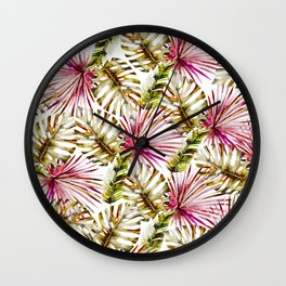 Modern tropical hot pink green watercolor palm tree Wall Clock
