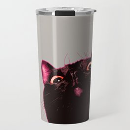 Curious cat, Black cat, Pop Art cat. Travel Mug
