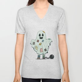Scary child disguised as a ghost Unisex V-Neck