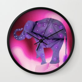 Pruple Elephant Wall Clock