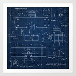 Toy Airplane Blueprint Art Print