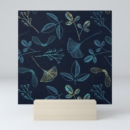 Seeds and Leaves print - blue. Mini Art Print