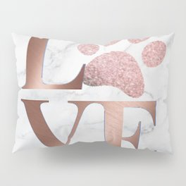 Love is a Four Letter Word - Rose Gold and Marble Pillow Sham