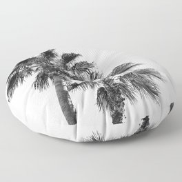B&W Palm Tree Print | Black and White Summer Sky Beach Surfing Photography Art Floor Pillow