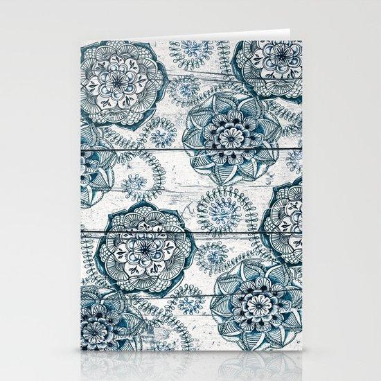 Navy Blue Floral Doodles on Wood Stationery Cards