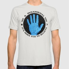 Me & Paranormal You - James Roper Design - Palmistry (black lettering) Mens Fitted Tee Silver MEDIUM