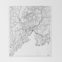 New Haven Map White Throw Blanket
