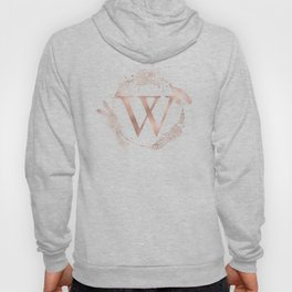 Letter W Rose Gold Pink Initial Monogram Hoody