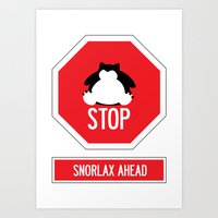 snorlax Art Prints featuring Stop! Snorlax ahead by Marta Beltowska Photography