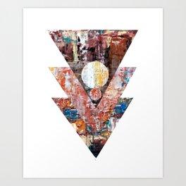 The blue line triangles II Art Print
