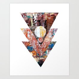 The blue line triangles II Art Print