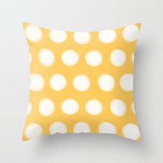 painted polka dots- yellow  Throw Pillow