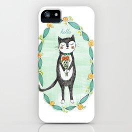 Tuxedo Cat with Flowers iPhone Case
