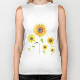 Sunflowers Watercolor Painting Biker Tank