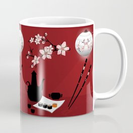 Oriental cuisine . Sushi and rolls . Coffee Mug