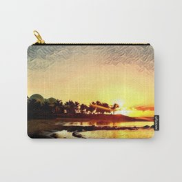 Sunset in Hawaii (Palm Trees, Beach, Ocean, Silhouettes) Carry-All Pouch