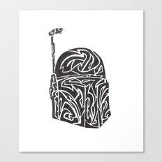 Boba Fett [Black on White] Canvas Print
