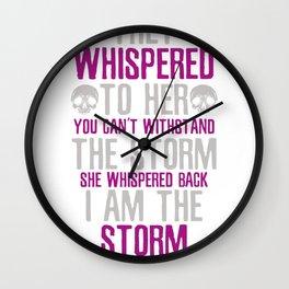 Sugar skull flower I am the storm Wall Clock