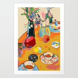 TEA AND FLOWERS AT HOME Art Print