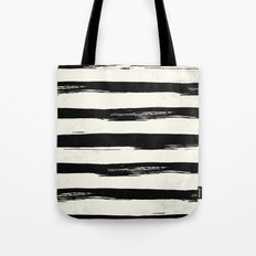 Tribal Paint Stripes Black and Cream Tote Bag