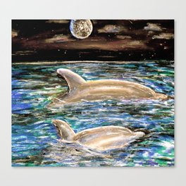 Dolphins Under a Night Sky Canvas Print