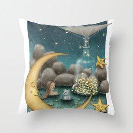 Bath Under The Starry Sky Throw Pillow
