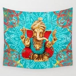 Lord Ganesha  - Mixed Media Wall Tapestry