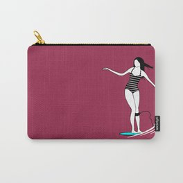 Surfer Girl Surfing in Bikini Carry-All Pouch
