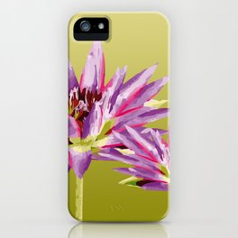 Water Lilies violet green iPhone Case