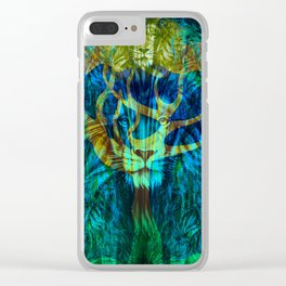 Lion Tree at Night Tapestry Style Clear iPhone Case