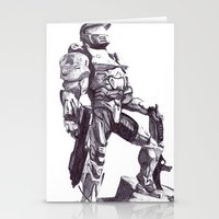 master chief Stationery Cards featuring Master Chief 117 by DeMoose_Art