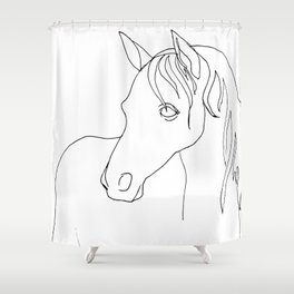 Horse, line drawing Shower Curtain