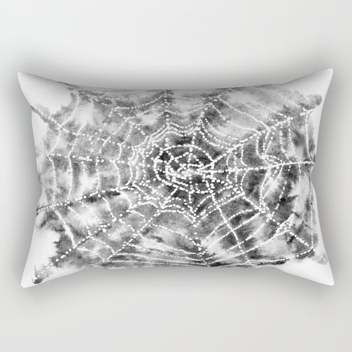 Watercolor Spider Web Halloween Art Rectangular Pillow