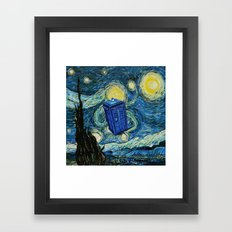 Tardis Dr. Who Starry Night Framed Art Print