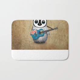 Baby Penguin Playing Turks and Caicos Flag Guitar Bath Mat