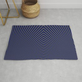 Gold Diagonals and Rays on Navy Blue Rug