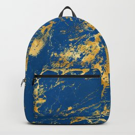 Royal Blue Faux Marble With '24-Karat' Gold Veins Backpack